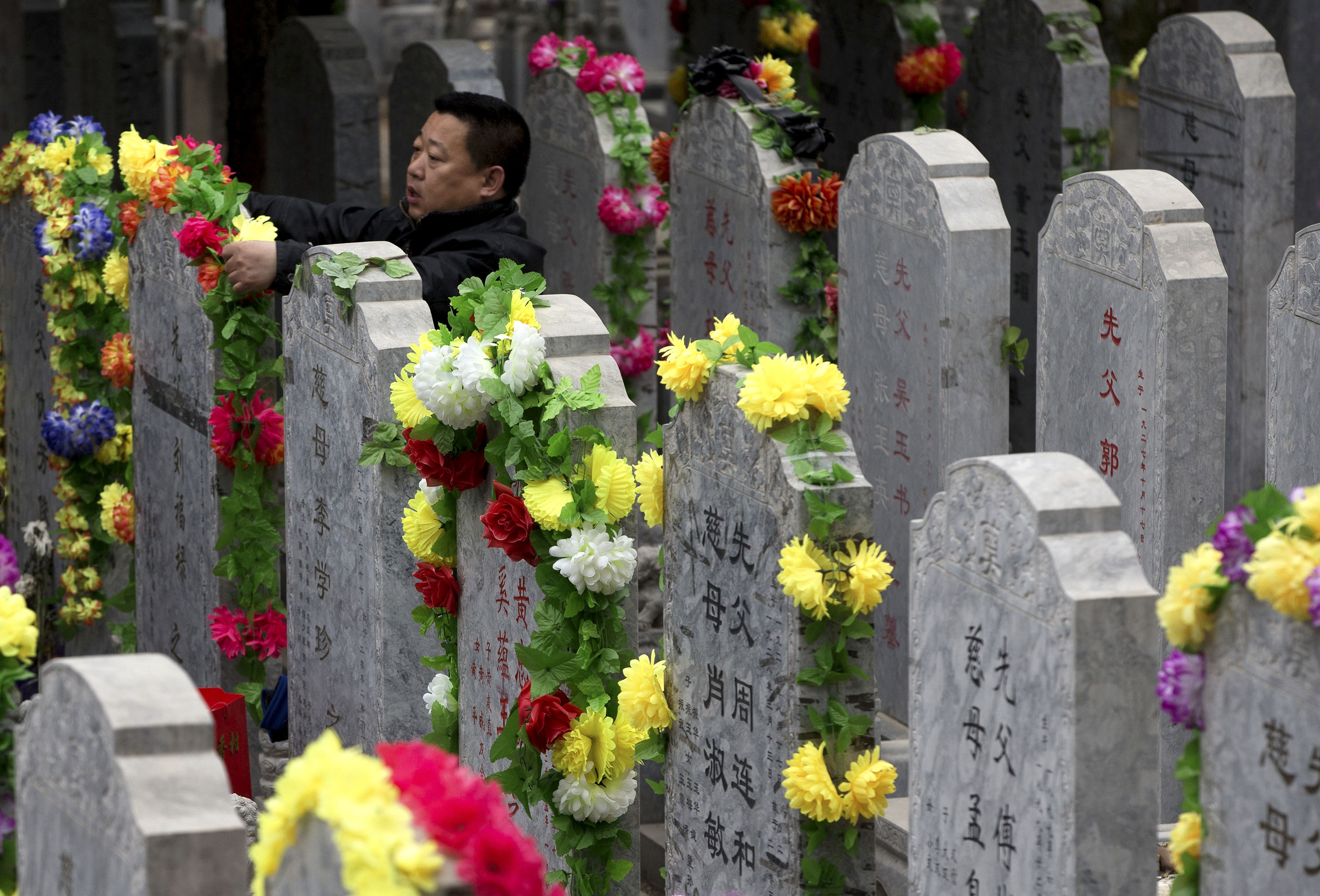 A man places flowers on the tomb stone of his family grave at the Babaoshan cemetery during the Qingming Festival in Beijing Thursday. Qingming festival, also known as the Grave Sweeping Day, is a day when Chinese around the world remember their dearly departed and take time off to clean up the tombs and place flowers and offerings.