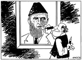 A famous cartoon (by Zahoor) satirizing the Islamization of Jinnah's image.