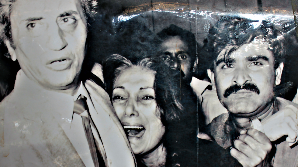 Nusrat Bhutto reacts at her husbands execution.