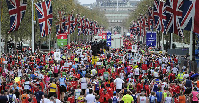 London is the next in the world marathon series after Boston. —Photo by AP