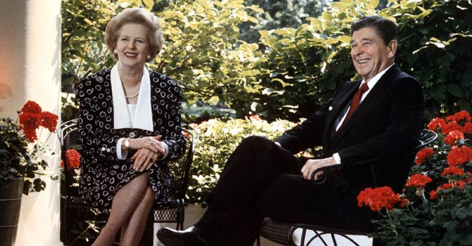 A 1987 photo shows former US President Ronald Reagan and former British Prime Minister Margaret Thatcher on the patio outside the Oval Office, in Washington D.C.  —Photo by AFP
