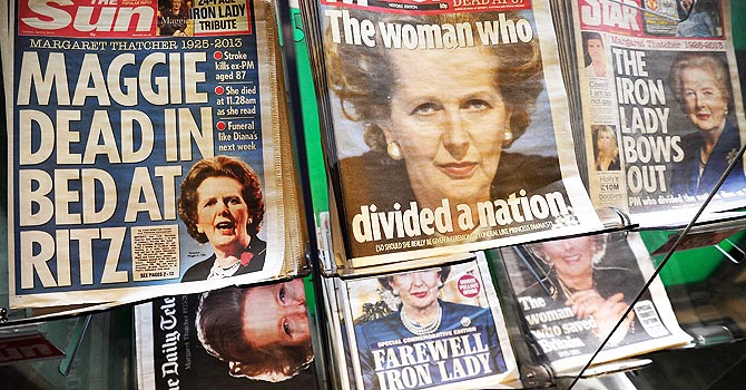 "Britain will hold the funeral of former prime minister Margaret Thatcher on Wednesday with Queen Elizabeth II leading the mourners, officials said, as the country wrestled with deeply divided views of the ""Iron Lady"".  —Photo by AFP"