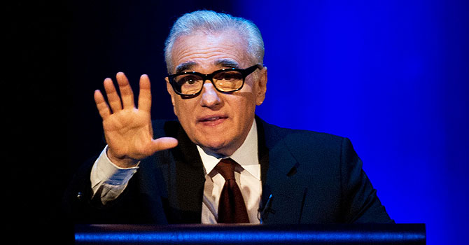 "US film director Martin Scorsese delivers the 2013 Jefferson Lecture in the Humanities entitled ""Persistence of Vision: Reading the Language of Cinema"" at the Kennedy Center in Washington. —Photo by AFP"