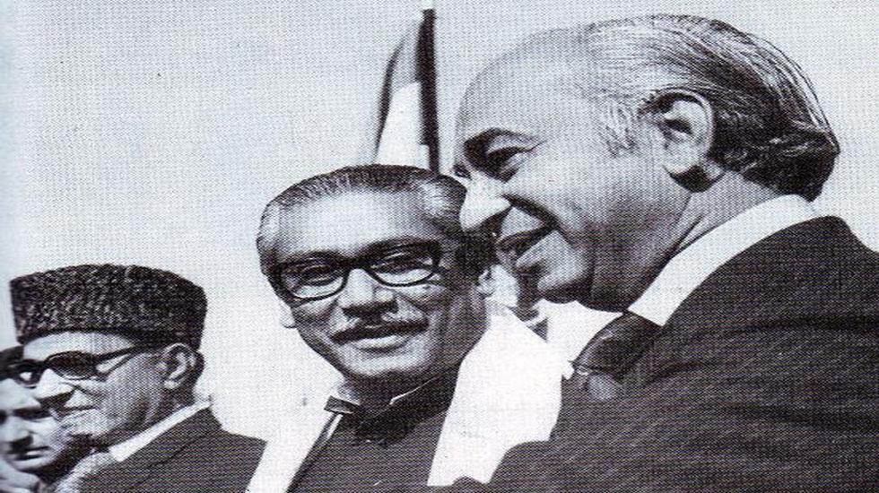 Zulfikar Ali Bhutto with Sheikh Mujibur Rahman.
