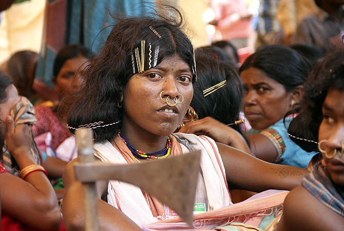 A woman from the Dongria Kondh tribe attends a protest in Bhubaneswar against South Korean steel-maker POSCO's proposed steel plant in the Jagatsinghpur district, in the eastern Indian state of Odisha.