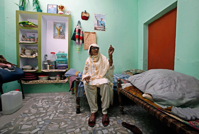 Ghulam Sakina, 85, mother of Jamshed Dasti, sits at Dasti's home during an interview.