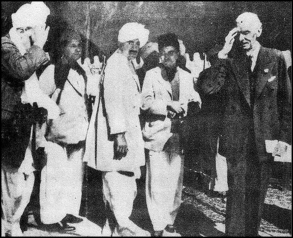 Jinnah leaves a meeting with leaders of Pakistan's Hindu and Christian minorities on a happy note, January, 1948.