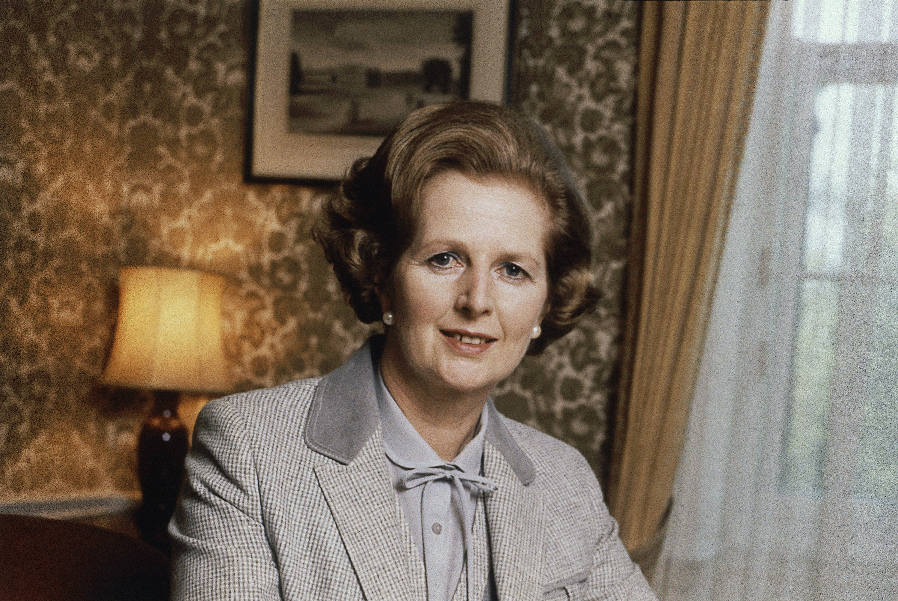 This is a 1980 file photo showing  British Prime Minister Margaret Thatcher.