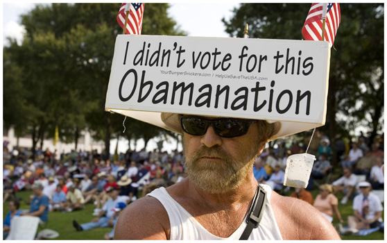 A man at an anti-Obama rally in California. A series of rallies took place during Obama's first term against some of his Welfare policies that were termed 'socialist' by his detractors.