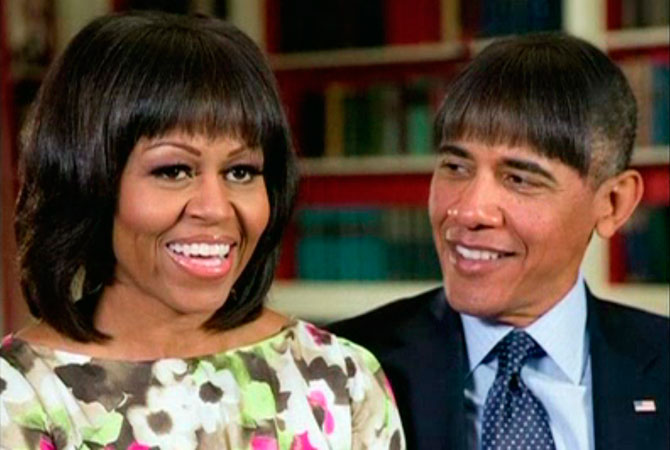 US President Barack Obama makes light jokes of his wife Michelle Obama's new bangs with a mock pictures of himself with the same hairdo in this humorous photo created by the White House shown at the annual White House Correspondents' Association dinner in Washington on April 27, 2013.