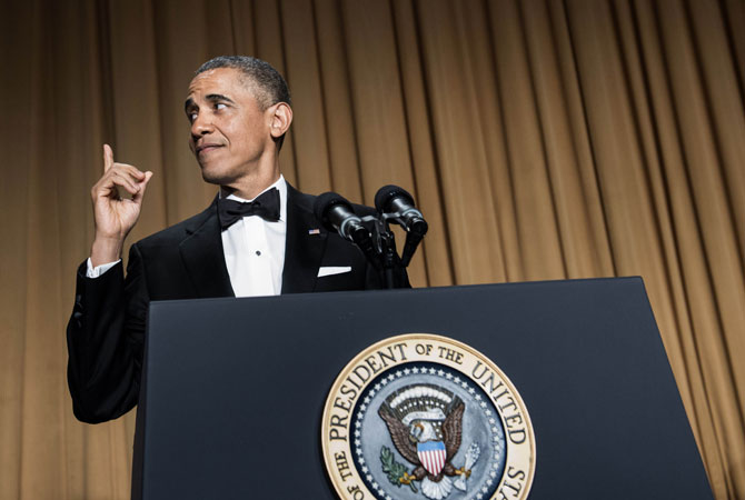 US President Barack Obama speaks during the White House Correspondents' Association Dinner April 27, 2013 in Washington, DC.