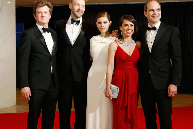 (L-R) House of Cards developer and producer Beau Willimon and cast members Corey Stoll, Kate Mara, Constance Zimmer and Michael Kelly arrive on the red carpet at the annual White House Correspondents' Association dinner in Washington.