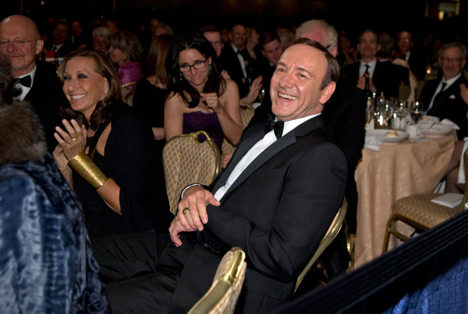 Actor Kevin Spacey laughs during the White House Correspondents' Association Dinner at the Washington Hilton Hotel, Saturday, April 27, 2013, in Washington.