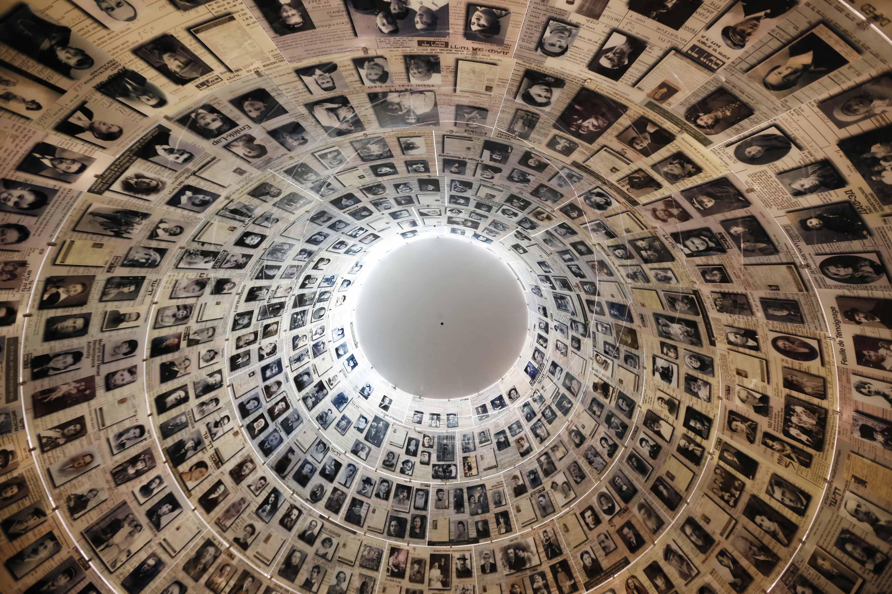 The conical ceiling of the Hall of Names is pictured during a visit by US President Barack Obama (not pictured) at the Yad Vashem Holocaust Memorial in Jerusalem.