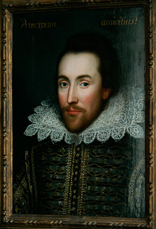 A portrait of William Shakespeare, presented by the Shakespeare Birthplace trust in central London. —Photo (File) AP