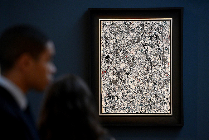 "This photo taken on May 3, 2013, shows the painting ""Number 19"" by Jackson Pollock on display during a preview of Christie's Impressionist and Modern Art sales in New York. — AFP Photo"
