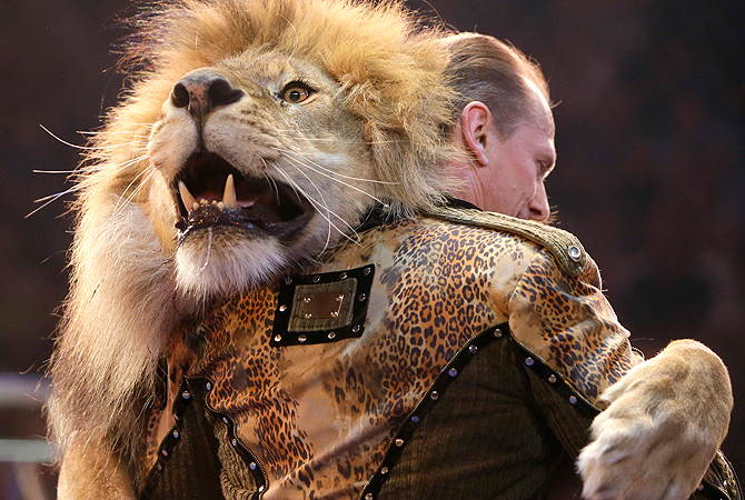 Oleksiy Pinko, a circus artist, dances with a lion during presentation of the new program in Ukraine's National Circus in Kiev, Ukraine. — AP Photo