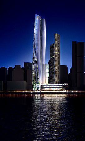 An  artist's impression of tycoon James Packer's proposed billion-dollar casino for Asian high-rollers stands on the Sydney skyline after Packer picked the British firm Wilkinson Eyre design, in Sydney on May 16, 2013.  The Australian mogul wants his 60-storey building to rival the Sydney Opera House in the iconic structure stakes and to make it happen selected Wilkinson Eyre Architects ahead of two American firms also on the shortlist.  Wilkinson Eyre is best known for designing Gardens by the Bay in Singapore, th
