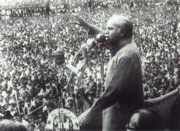 ZAB addressing a large rally during the PPP's campaign trail in 1970.