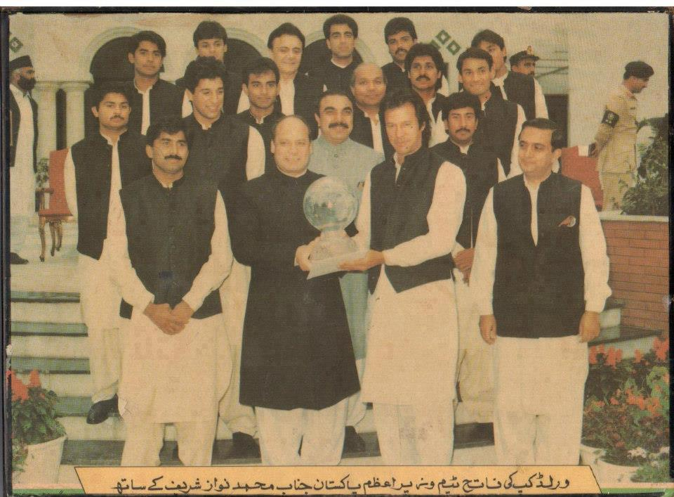 Nawaz Sharif as PM poses for a picture with the Pakistan cricket team that won the 1992 Cricket World Cut (under Imran Khan's captaincy). Khan joined politics in 1996 and today his party his posing the stiffest electoral challenge to the PML-N in the Punjab.