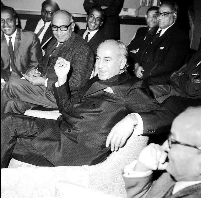 Z A. Bhutto shares a joke with party ideologues. In the front of the image is J A. Rahim.