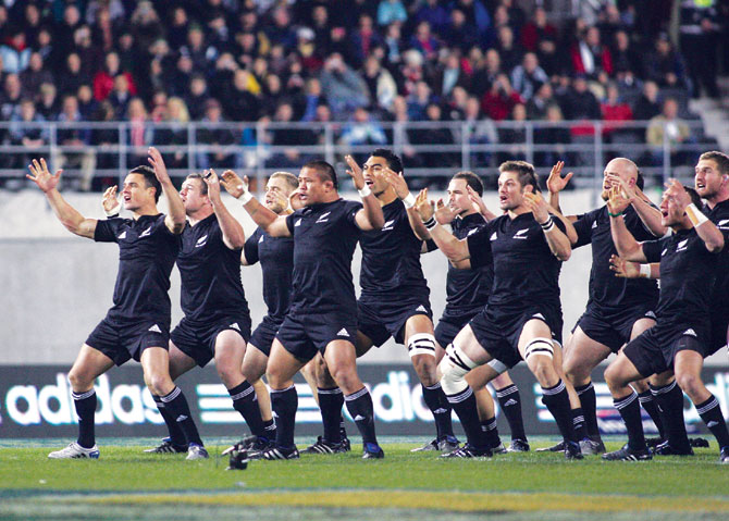All Blacks New Zealand rugby team performing the Haka.