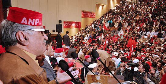 Head of ANP, Asfandyar Wali speaking at an ANP convention in Peshawar.