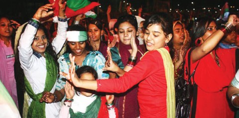 MQM supporters rejoice after the party swept the e2008 election in the country's largest city, Karachi.