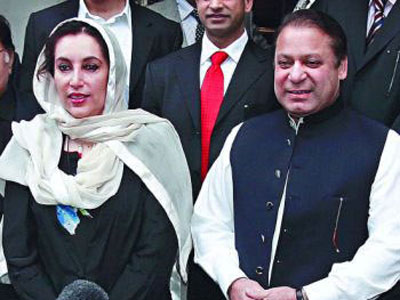 Nawaz Sharif with PPP Chairperson, late Benazir Bhutto, in London, 2006.  The two former foes signed a Charter of  Democracy and vowed to work together to keep the military out of politics.