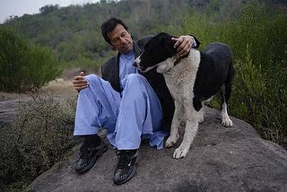Khan with one of his favourite pet dogs in Islamabad.