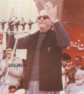 Wali Khan: The founding member of ANP speaking at the party's launch in 1986. Sitting behind him (far right) is his father, veteran Pushtun nationalist leader, Bacha Khan.