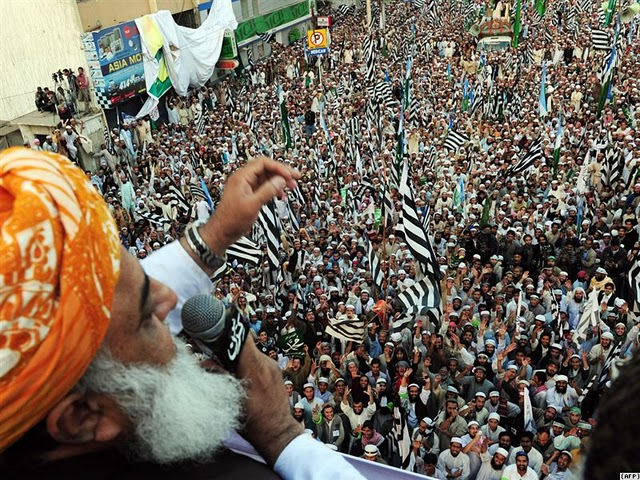 Fazalur Rehman speaking at a JUI rally in 2011.
