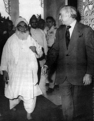 Chief of JUI, Mufti Mehmood, with Z A. Bhutto, 1977.