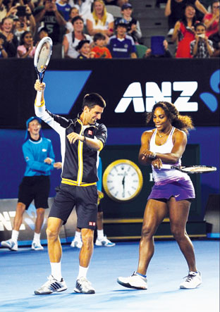 Novak Djokovic teaches Serena Williams the Gangnam moves.