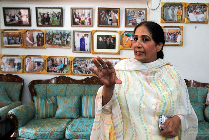 Nighat Orakzai, a Pakistan People's Party (PPP) candidate for the upcoming election, talks to Reuters journalists at her house and campaign headquarters in Peshawar.