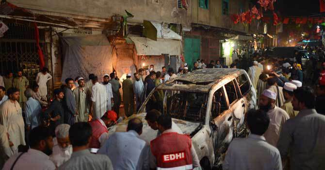 The file photo shows a scene of a blast near an ANP rally in Peshawar. - File Photo