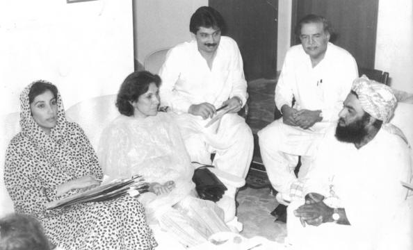 Fazalur Rehman who became chief of JUI after Mufti Mehmood's death seen here (right) sitting with Benazir and Nusrat Bhutto in 1982.