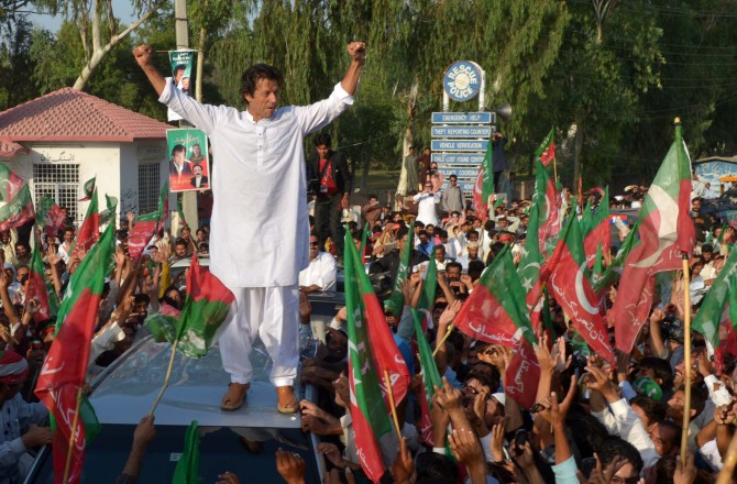 Khan addresses an anti-drone rally near South Waziristan, 2012.