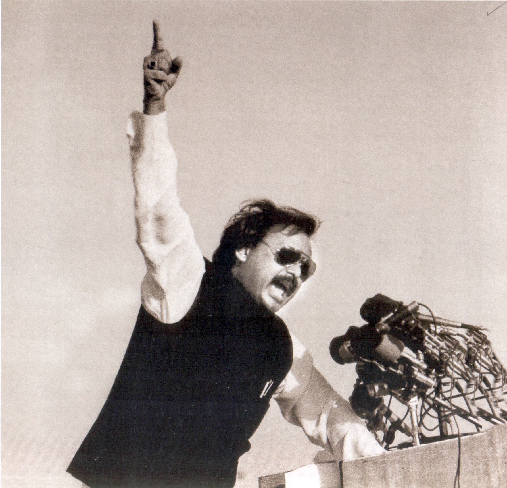 Altaf Hussain addressing a rally in Karachi in 1987.