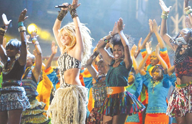 Shakira leads the dancers while singing Waka Waka at the Fifa World Cup opening ceremony in Johannesburg, South Africa, in 2010.