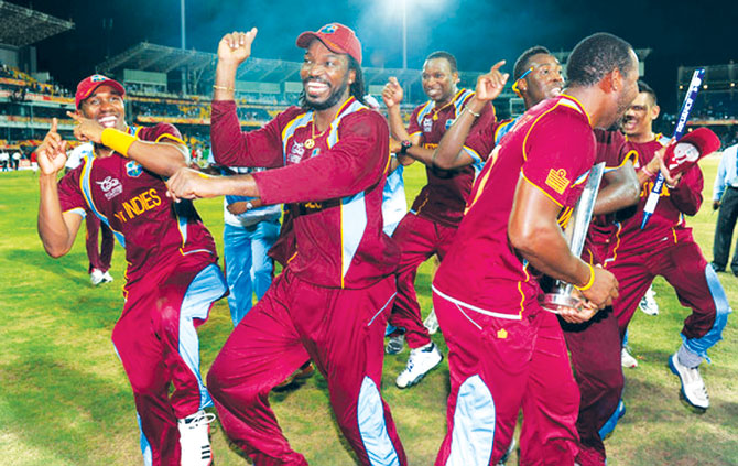 West Indies cricket team celebrating Gangnam style.
