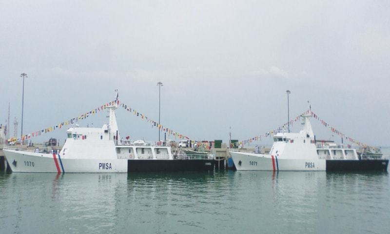 The two vessels that have been inducted into the Pakistan Maritime Security Agency's fleet.— Photo by writer