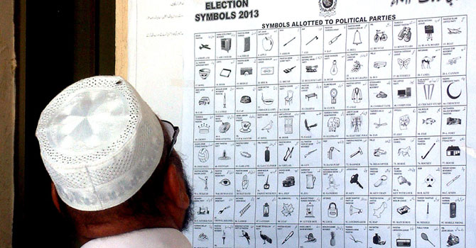 A man looking at election symbols allotted to political parties at a district court. — Photo by INP