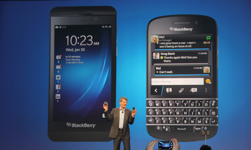 Blackberry Z10 and Q10 pictured at launch event. — AP Photo