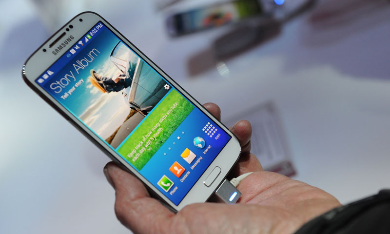 s Samsung's new Galaxy S4 during its unveiling at Radio City Music Hall in New York on March 14, 2013. — Photo AFP