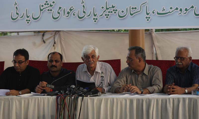MQM's Haider Abbas Rizvi, ANP's Bashir Jan and Taj Haider belonging to the PPP held a joint press conference at the Karachi Press Club where the parties reiterated their stance to contest the upcoming election amid terrorist threats.