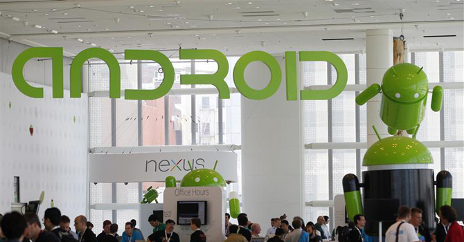 Android was used on 49.3 per cent of smartphones sold in the US market in the first quarter, compared to 43.7 per cent for Apple's iOS, the operating system for the iPhone. —Reuters File Photo