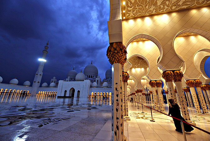 A general view of the Sheikh Zayed Mosque in Abu Dhabi, the capital of the United Arab Emirates (UAE).The mosque is named after Sheikh Zayed bin Sultan al-Nahayan the founder and the first president of the UAE. — AFP Photo