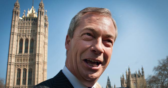 United Kingdom Independence Party (UKIP) leader Nigel Farage arrives in Westminster, London, Friday May 3, 2013, after a successful night in the local council elections. David Cameron's Conservative Party has taken a drubbing in local elections amid a surge of support for right-wing UKIP, an anti-European Union and anti-immigration party. - AP Photo
