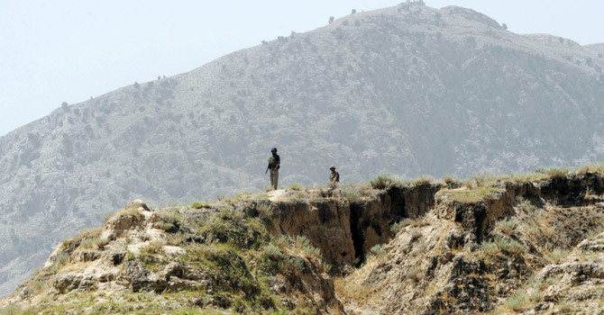 Pakistani security forces stationed at Pak-Afghan border. — Photo by AFP